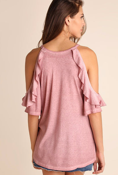 Rose Washed Top w/ Cutout and Ruffle Detail