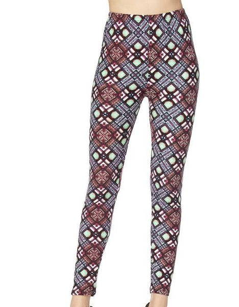Diamond Printed Leggings - Blissful Boutique