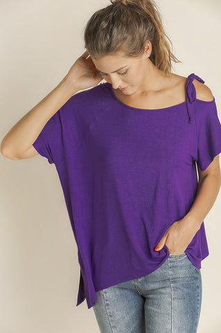 Purple One Cold Shoulder Top w/ Tie Detail