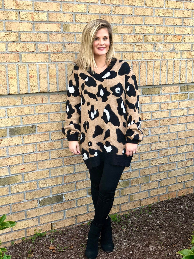 Leopard V Neck Sweater w/ Bubble Sleeves