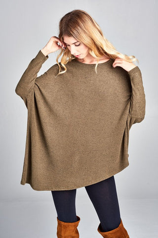 Brown Hacci Dolman Fitted Sleeve Tunic Top