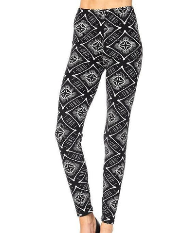 Black & White Printed Leggings - Blissful Boutique