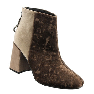 Taupe Embossed Velvet Bootie - Blissful Boutique