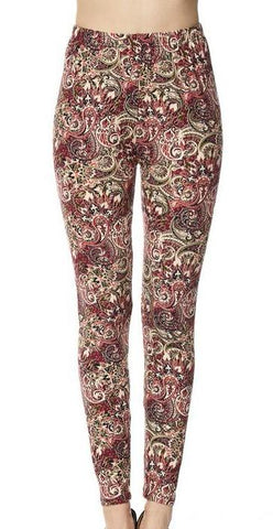 Paisley Print Brushed Leggings - Blissful Boutique