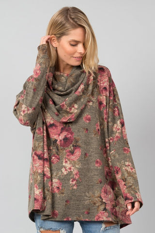 Olive Floral Cowl Neck Sweater