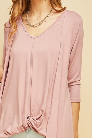 Dusty Rose Twist Front Top + Cardigan in One
