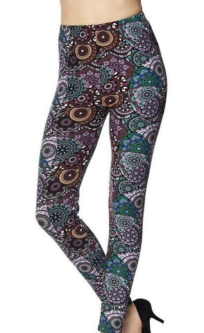 Multi Color Mandala Print Leggings - Blissful Boutique