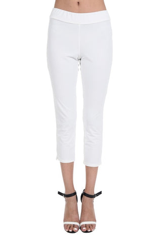 White Fitted Crop Pant