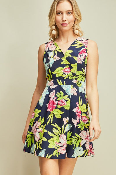 Navy Floral Surplice Dress