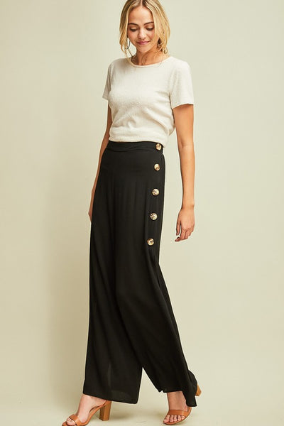 Black Button Palazzo Pants w/ Side Buttons