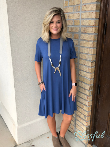 Blue Slate Short Sleeve Tee Dress