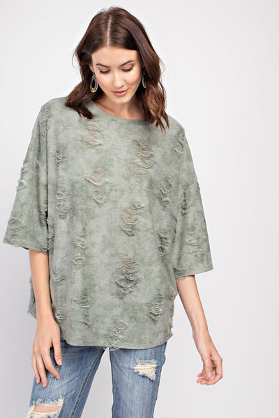 Faded Olive Distressed Top