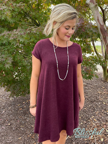 Wine French Terry Short Sleeve Swing Dress