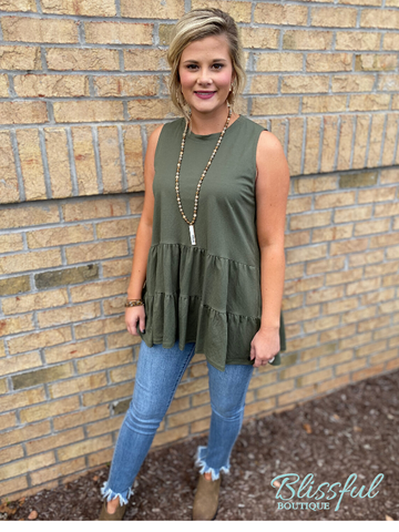 Olive Tiered Sleeveless Layering Top