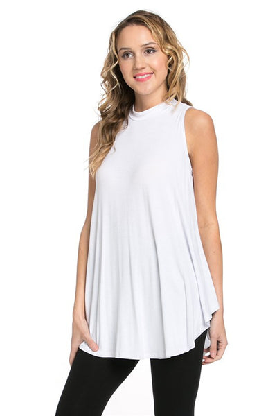 White Sleeveless Mock Neck Tunic