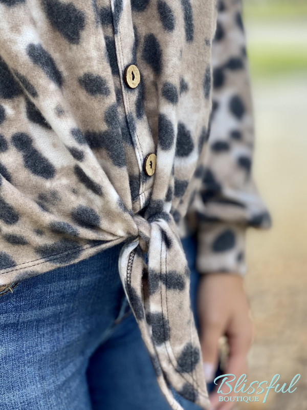 Animal Print Brushed Faux Button Top
