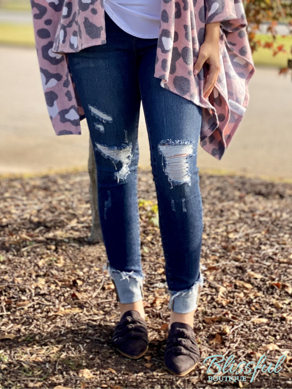 Asymmetrical Cuff Distressed Skinny Denim