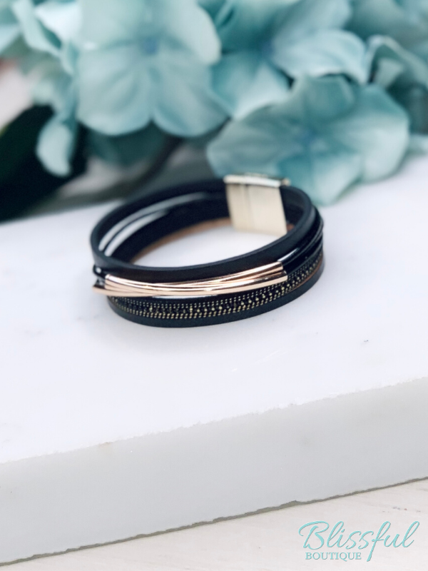 Black Layered Faux Leather & Metal Bracelet