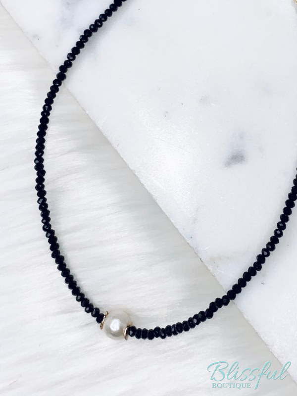Black Short Necklace w/ Pearl Accent