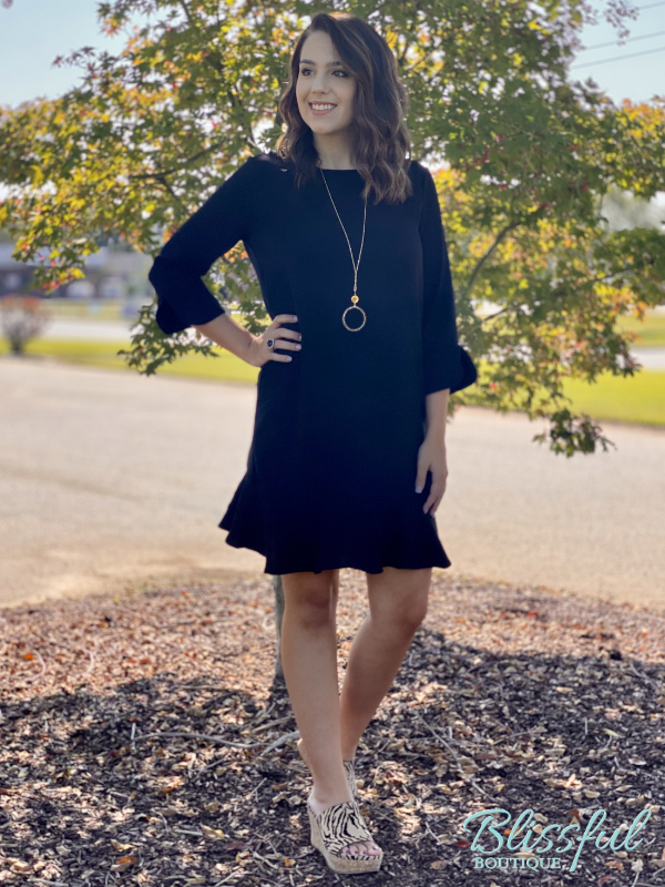 Black Dress w/ Ruffle Hem & Sleeve