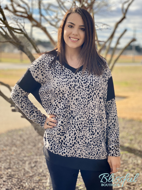 Black & Taupe Cheetah Print Tunic