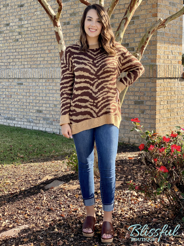 Brown Animal Print Sweater