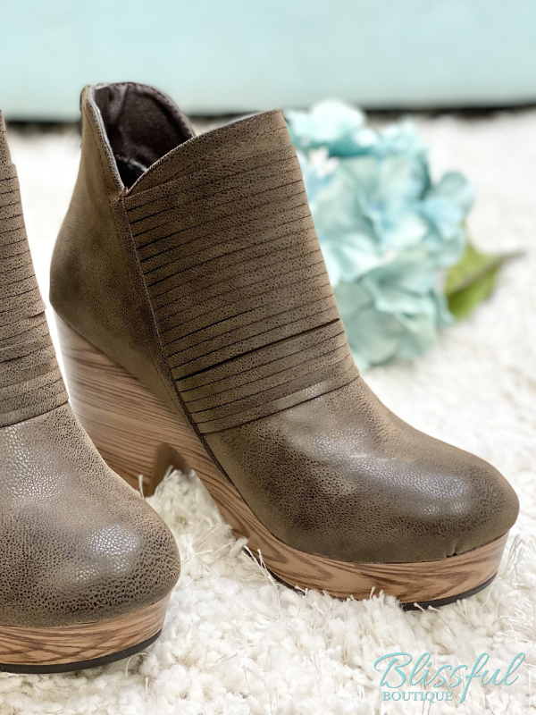 Brown Ankle Wood Platform Booties