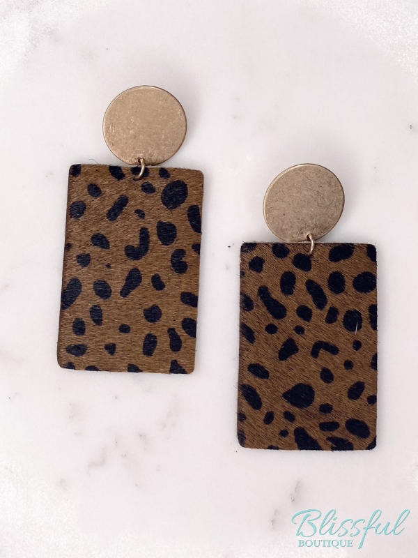 Leather Animal Print Rectangle Drop Earrings