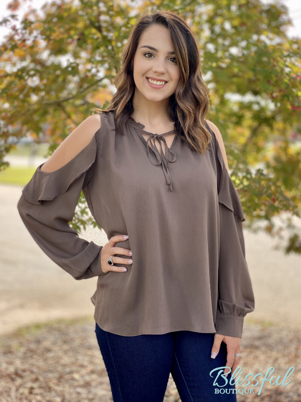 Brown Ruffle Cold Shoulder Blouse