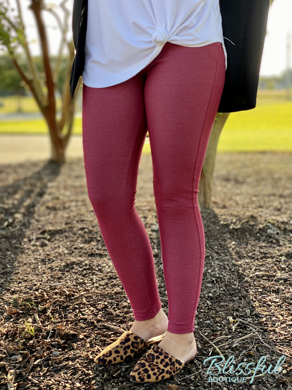 Burgundy Denim Jeggings