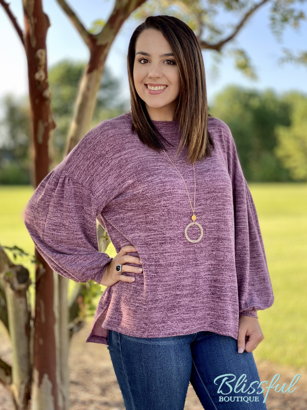 Burgundy Heathered Bubble Sleeve Top