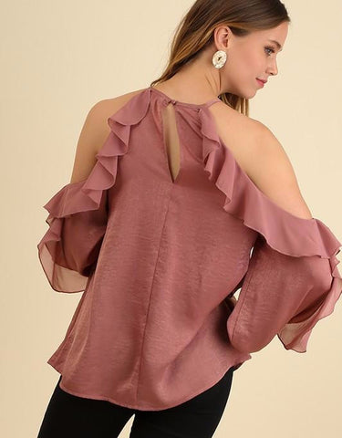 Mauve Ruffled Open Sleeve Blouse