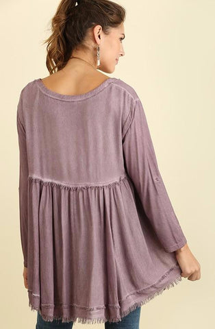 Fig Mineral Wash Top w/ Frayed Ends