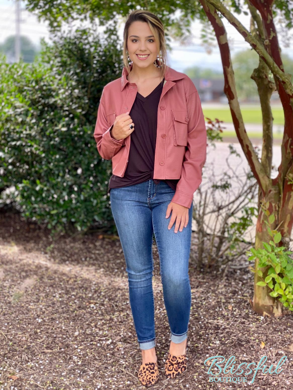 Mauve Cropped Cargo Jacket w/ Leather Feel