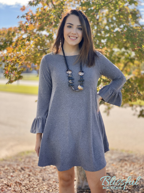 Charcoal Ruffle Sleeve Swing Dress