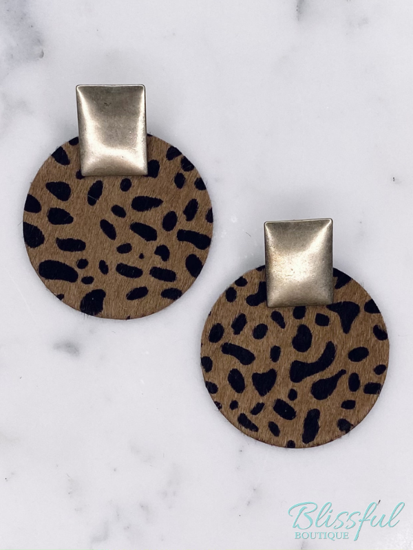 Leather Disc & Rectangle Earrings- Cowhide Animal Print
