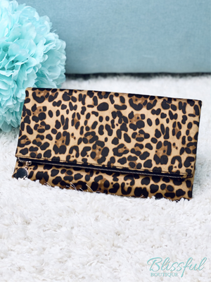 Cheetah/Leopard Print Fashion Clutch/Crossbody Bag