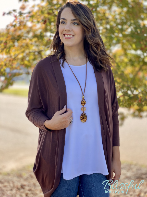 Chocolate Cocoon Wrap Cardigan