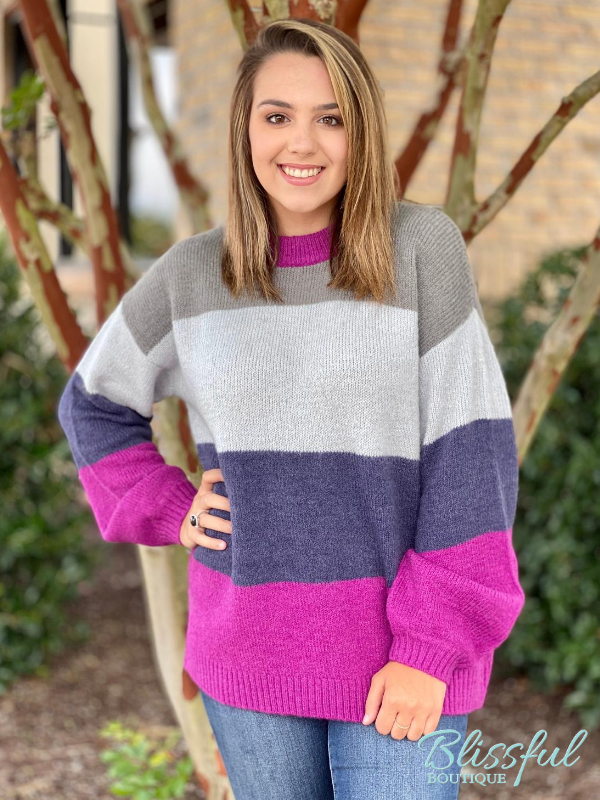 Grey & Fuchsia Color Block Sweater