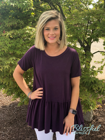 Plum Short Sleeve PePlum Hem Top