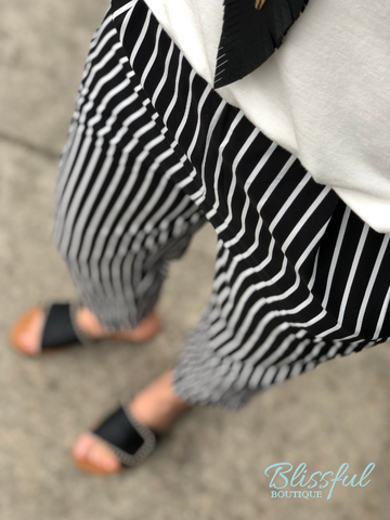 Black Stripe Cigarette Crop Pants