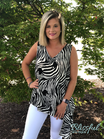 Zebra Patterned V-Neck Side Tie Top