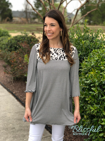 PLUS Grey/Black Animal Print & Stripe Contrast Tunic