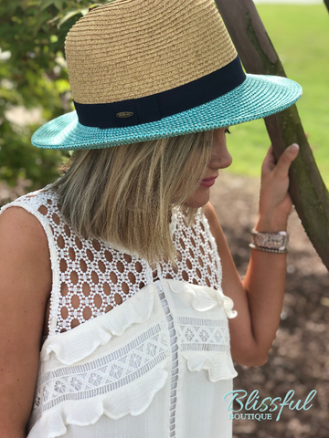 CC Straw Brim Panama Hat w/ Ribbon Band