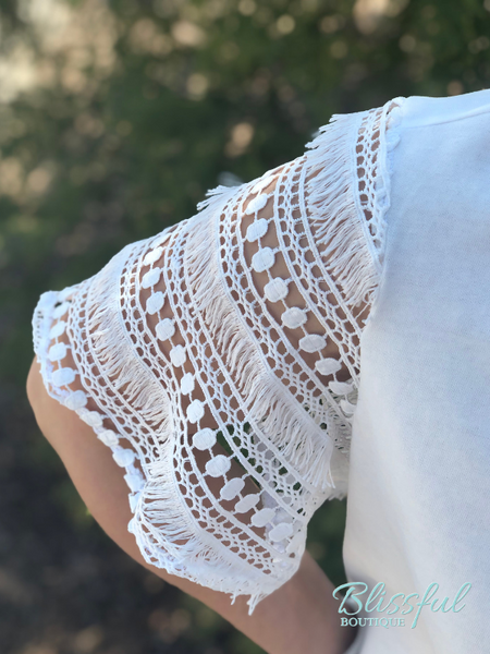 White Crochet Lace Bell Sleeve Top