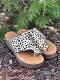 Tan Leopard Slide-On Wedge Sandal