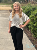 Ivory & Black Stripe Top w/ Gathered Sleeves