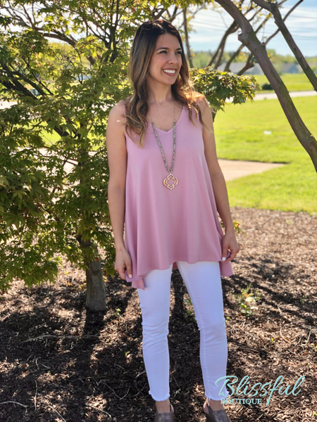 Pink Sleeveless Top w/ Side Slits