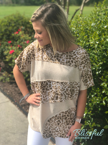 Leopard Color Block Top