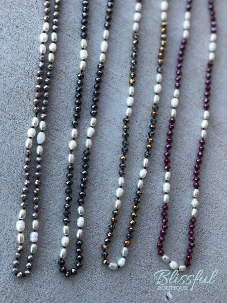 Long Bead & Pearl Necklace